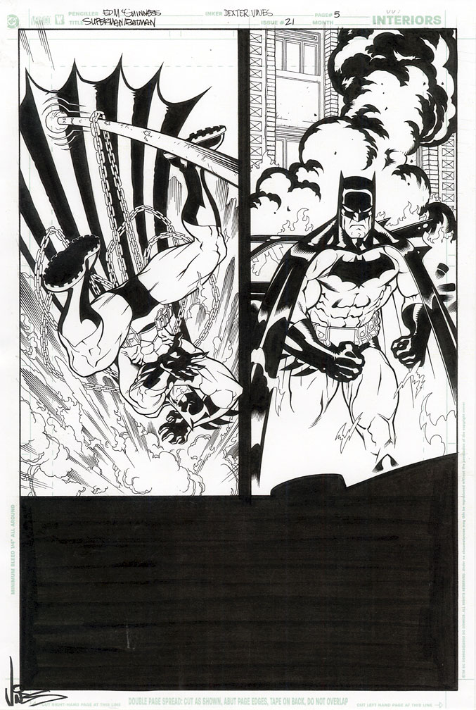 ED MCGUINNESS SUPERMAN BATMAN 21 Comic Book Original