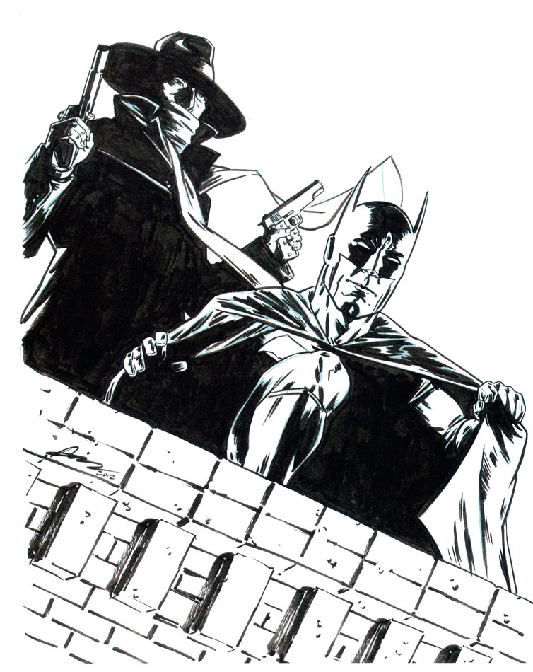 AARON CAMPBELL BATMAN/SHADOW COMMISSION Comic Art
