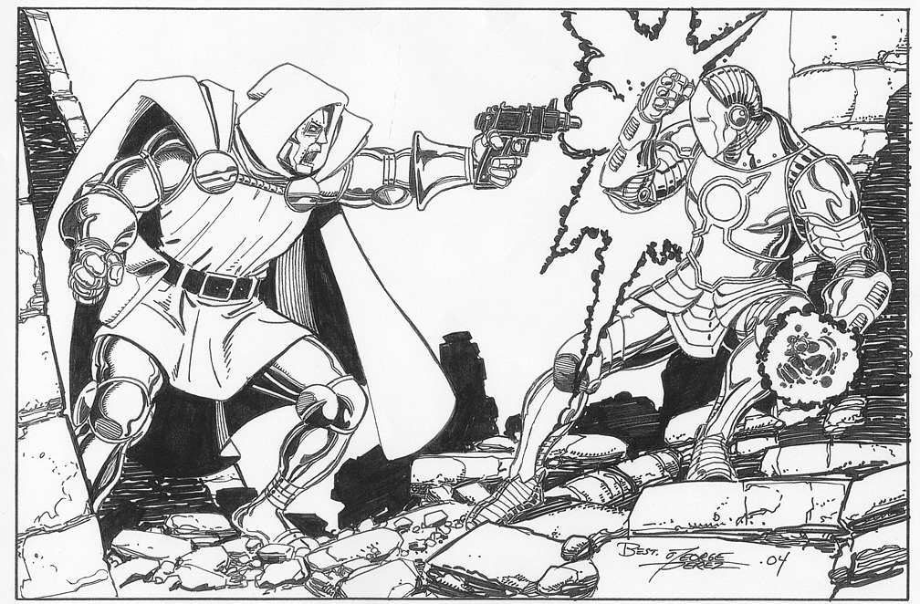 GEORGE PEREZ 2004 IRON MAN/DR. DOOM COMMISSION Comic Art