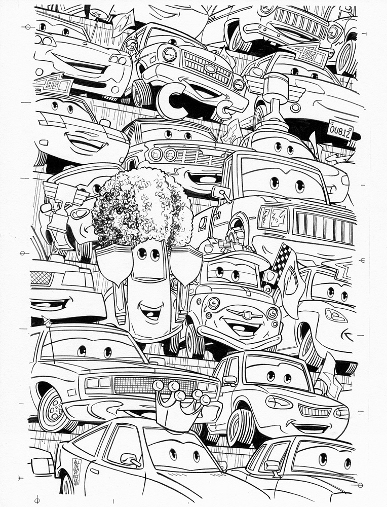 ALLEN GLADFELTER 2009 WORLD OF CARS #3 COVER Comic Art
