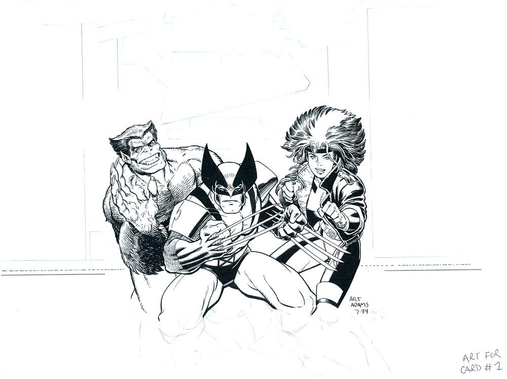 ARTHUR ADAMS 1994 X-MEN SOUP LABEL ART Comic Art