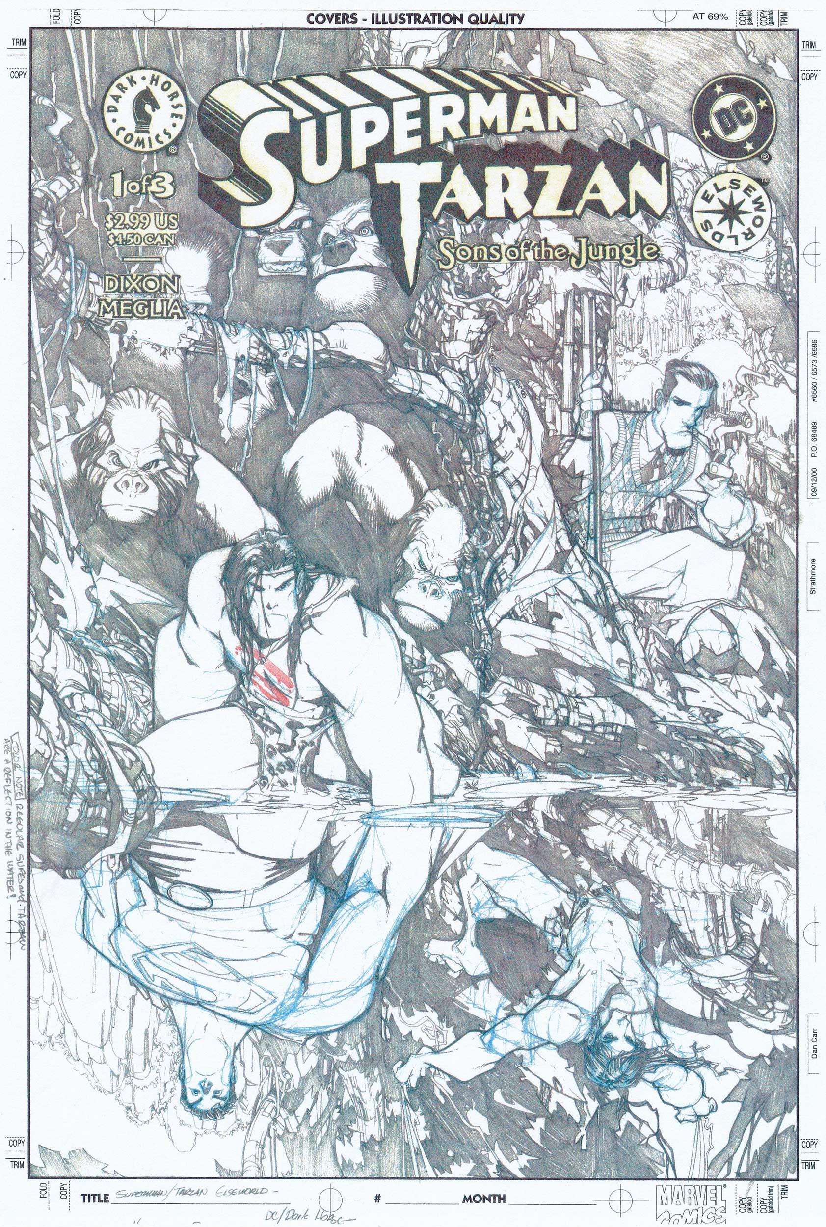 HUMBERTO RAMOS 1999 SUPERMAN / TARZAN #1 COVER Comic Art