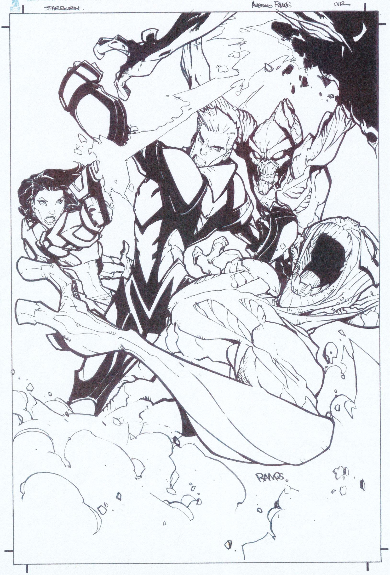 HUMBERTO RAMOS 2011 STARBORN TPB COVER Comic Art