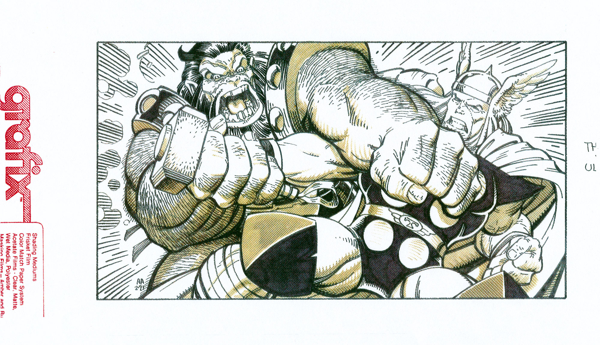 ARTHUR ADAMS 1991 ORIGINAL TRADING CARD ART Comic Art