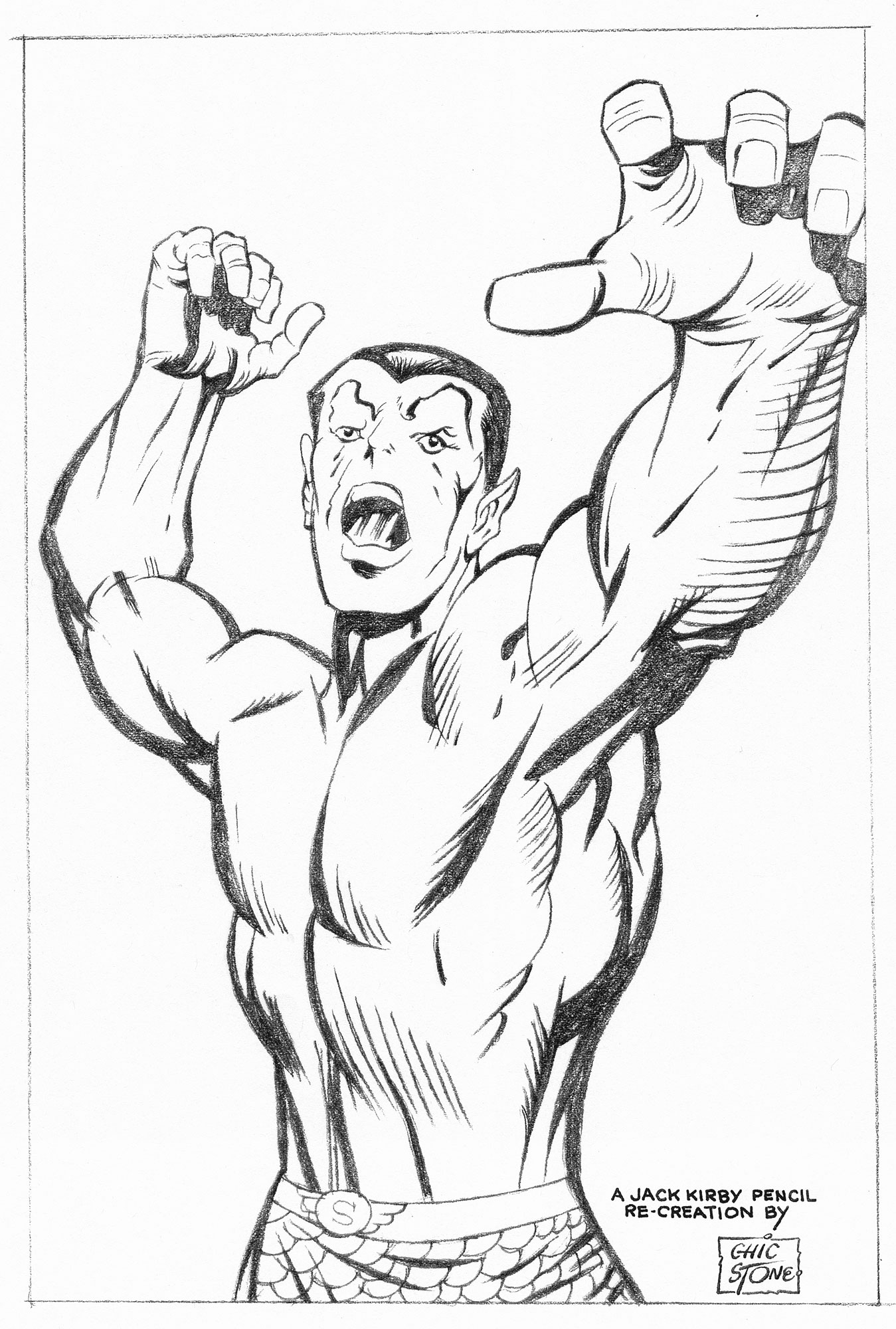 CHIC STONE SUB-MARINER PENCIL ART Comic Art