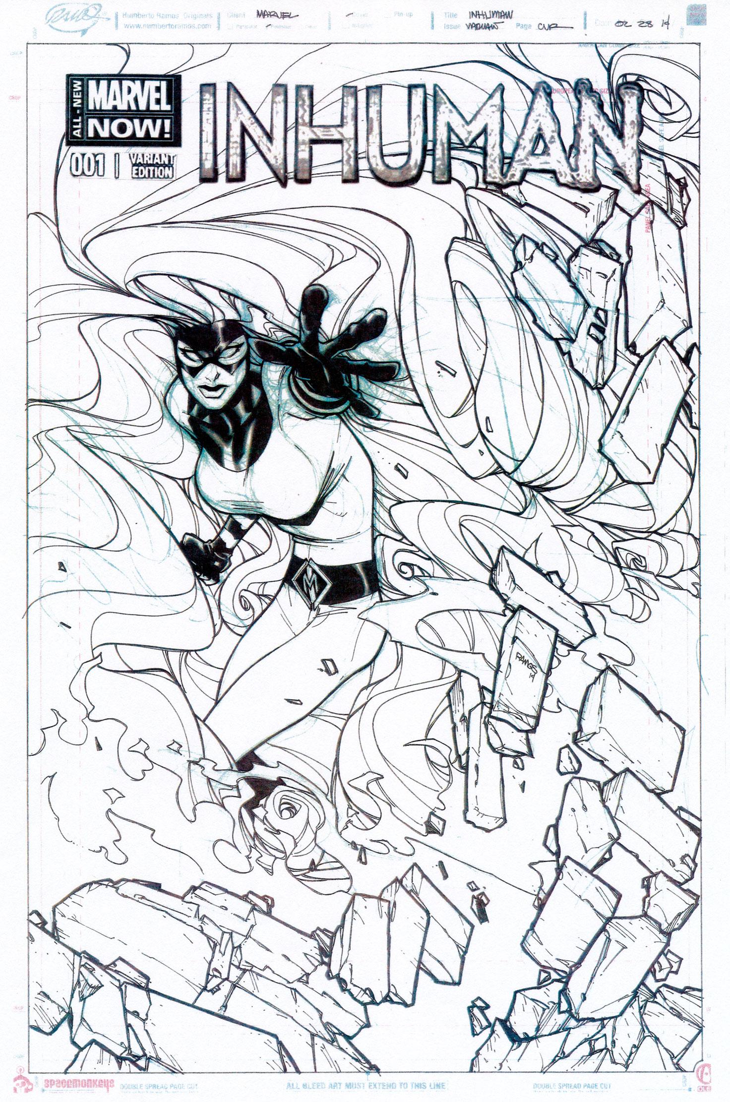 HUMBERTO RAMOS 2014 INHUMAN #1 COVER Comic Art