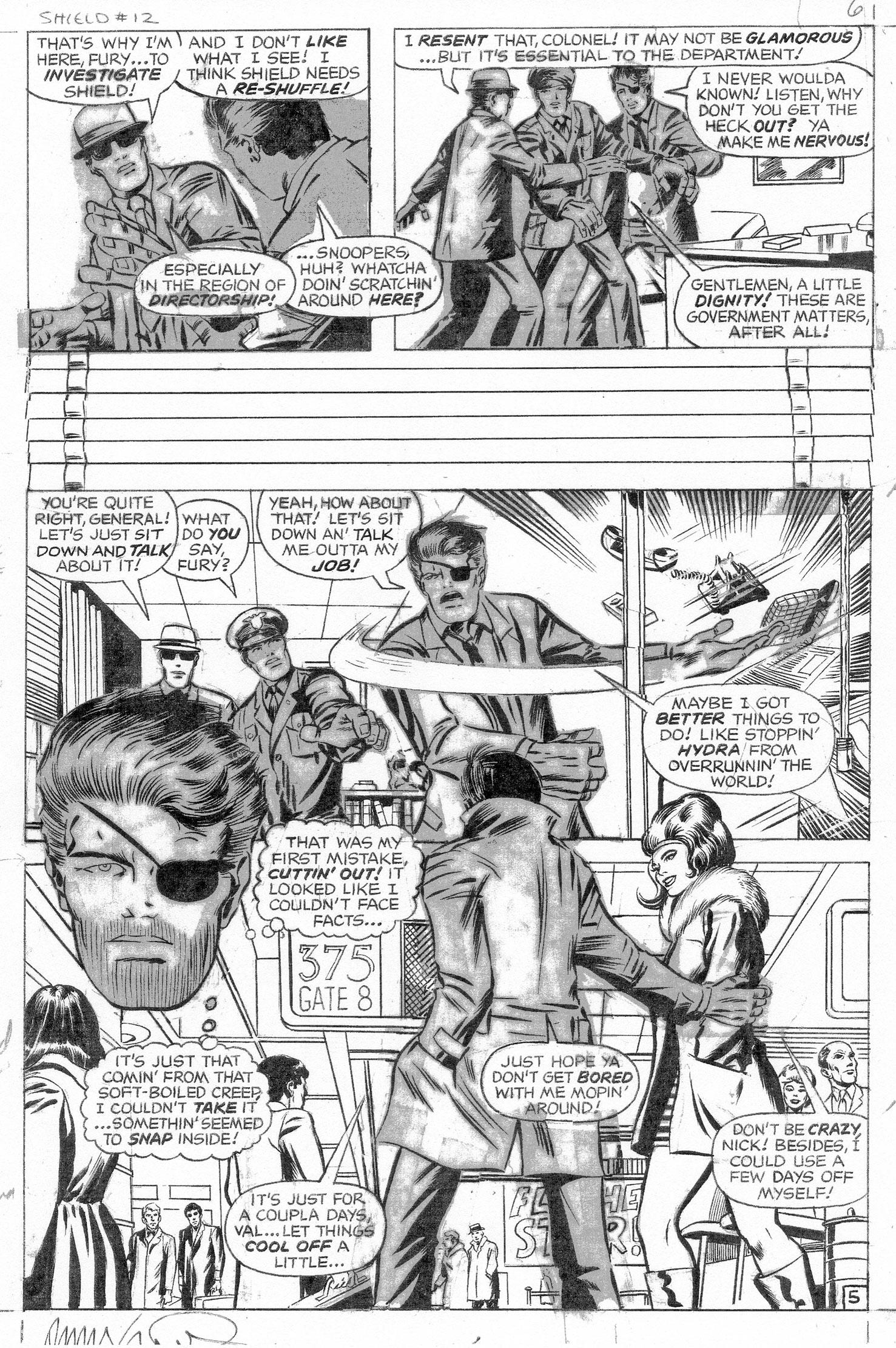 BARRY SMITH 1968 NICK FURY #12 P.5 Comic Art