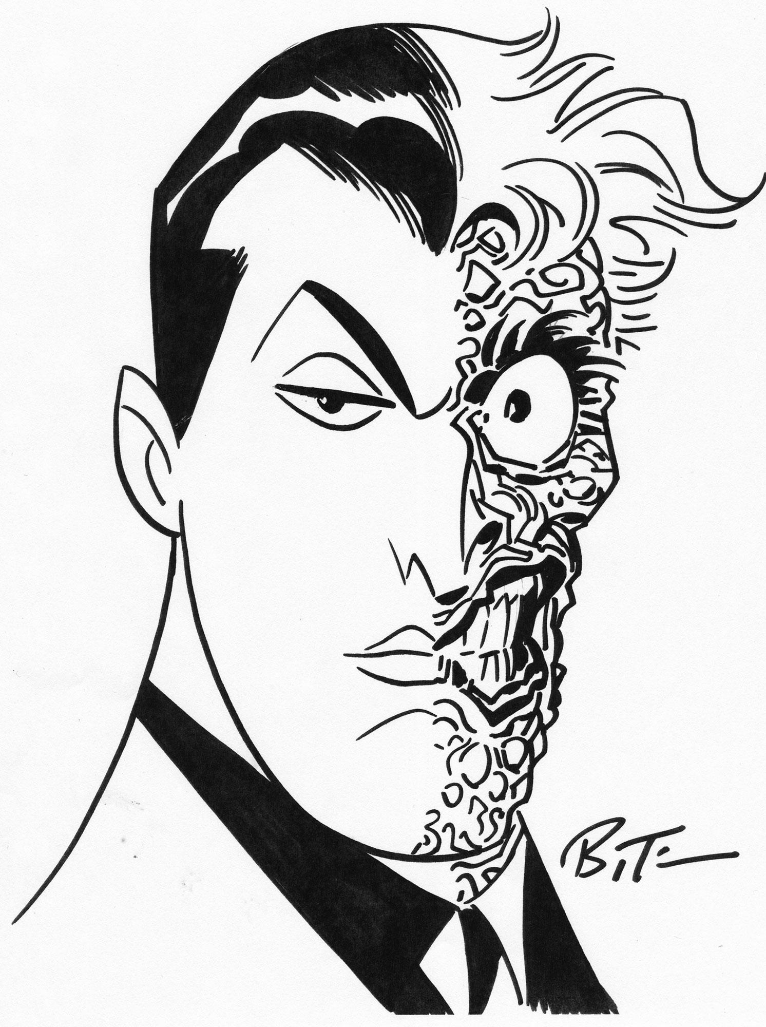 bruce timm 2016 two face drawing Art Skin Care original sketch artwork by acclaimed animated artist bruce timm of batman s twisted nemesis harvey dent a k a two face pleted at the san diego icon