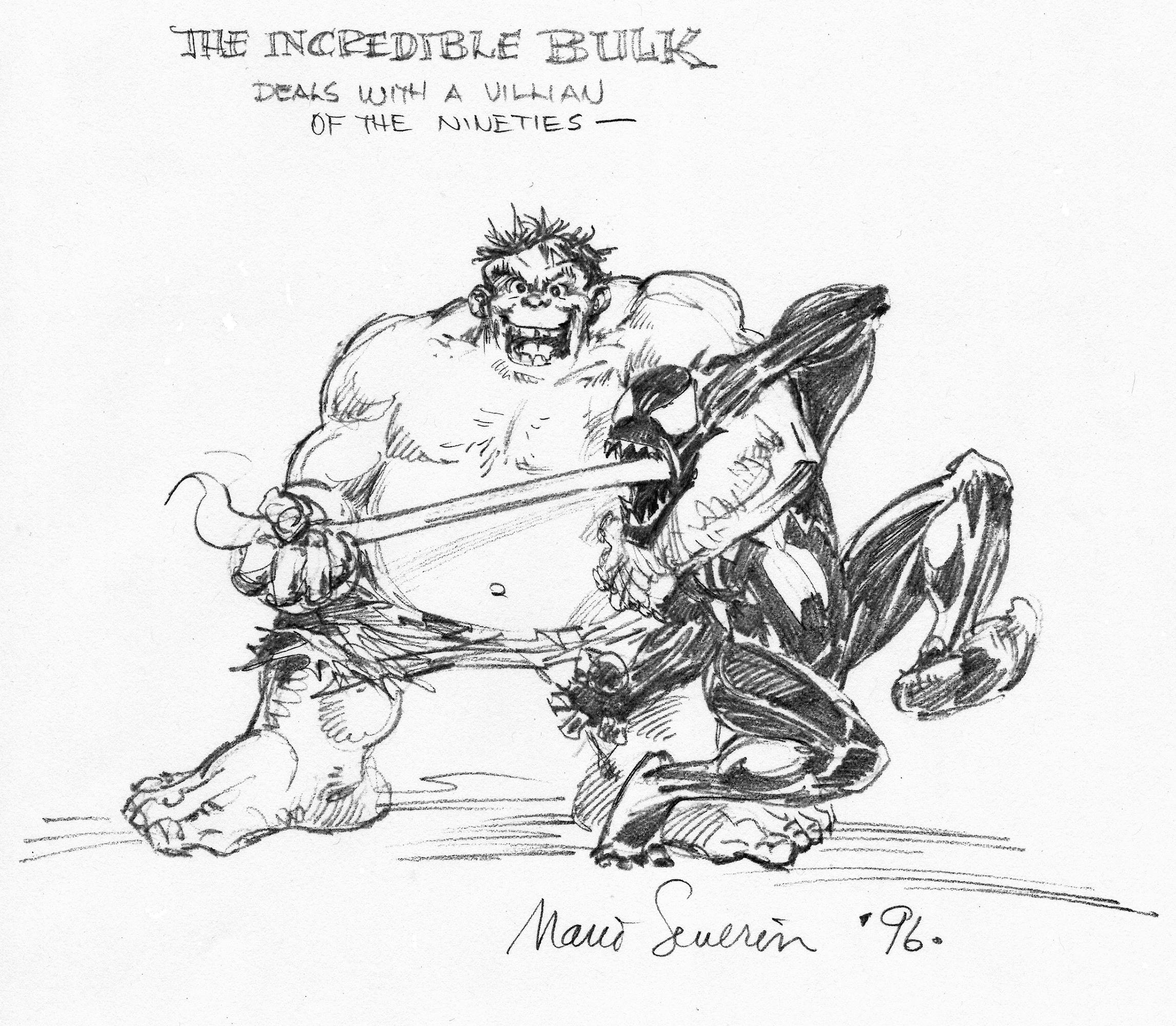 MARIE SEVERIN 1990�S HUMOROUS HULK ART Comic Art