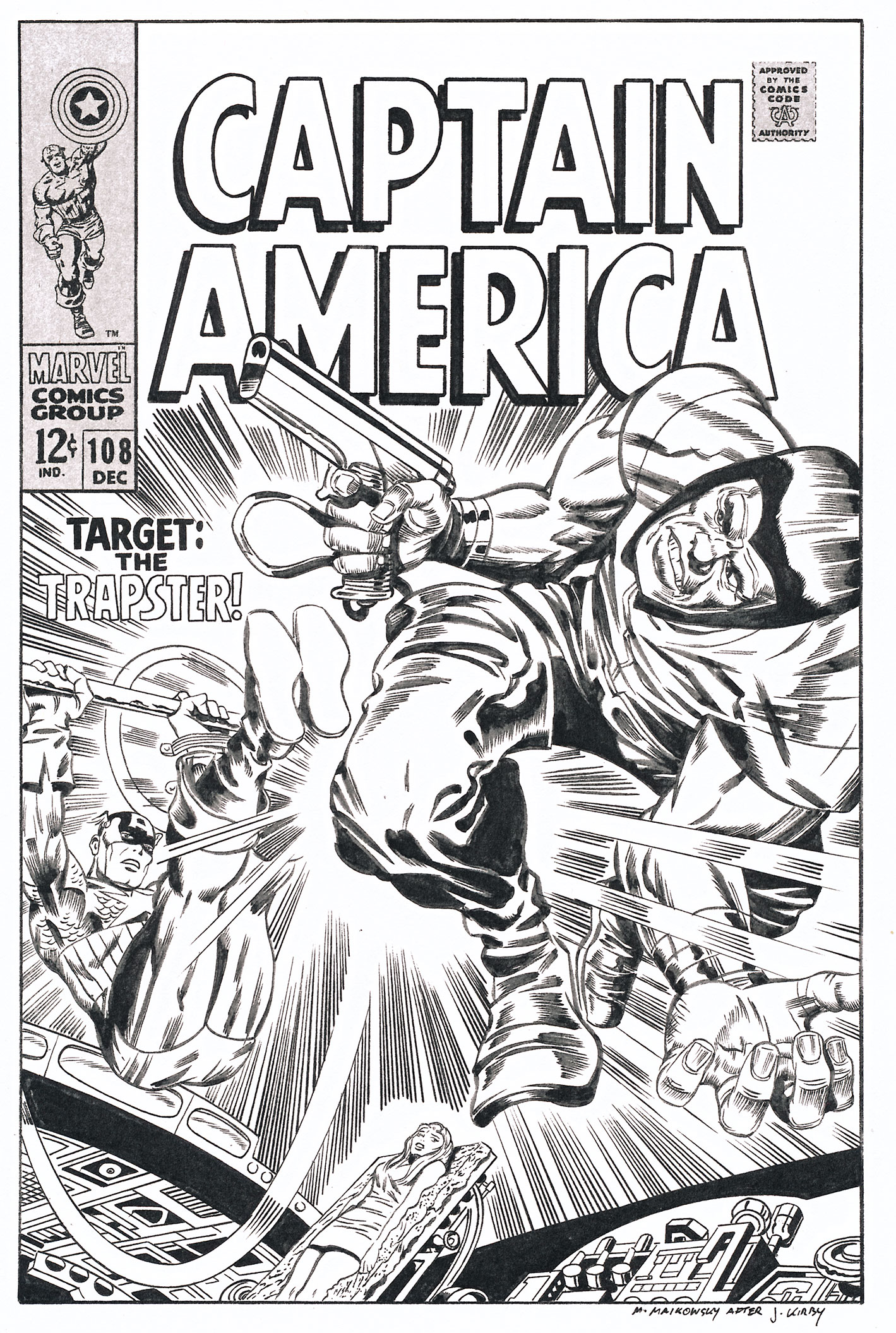 MIKE MALKOWSKY CAPTAIN AMERICA #108 COVER Comic Art