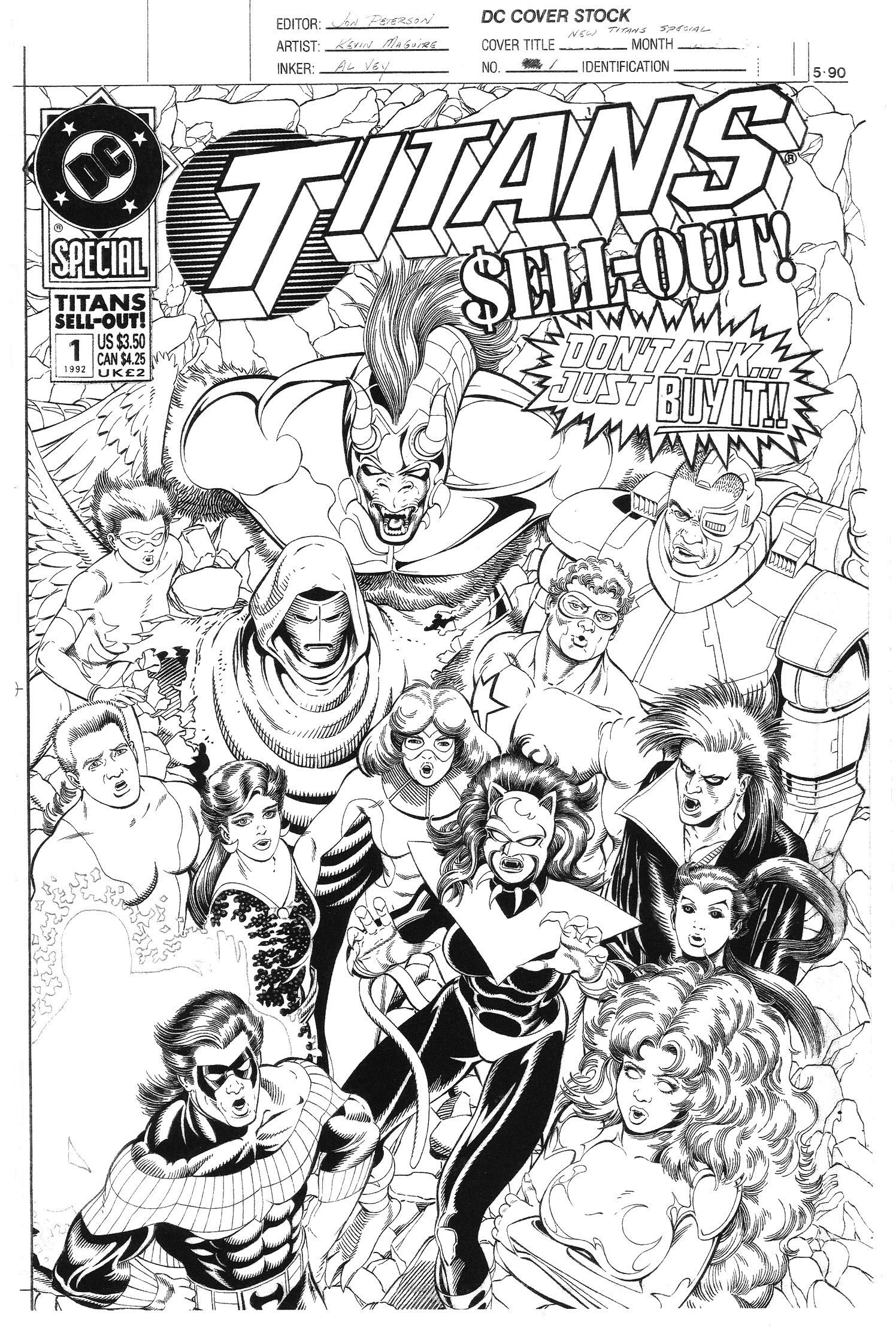 Kevin Maguire Titans Sell Out 1 Cover Dc Comic Art For
