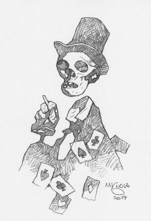 MIKE MIGNOLA pencil drawing Skeleton