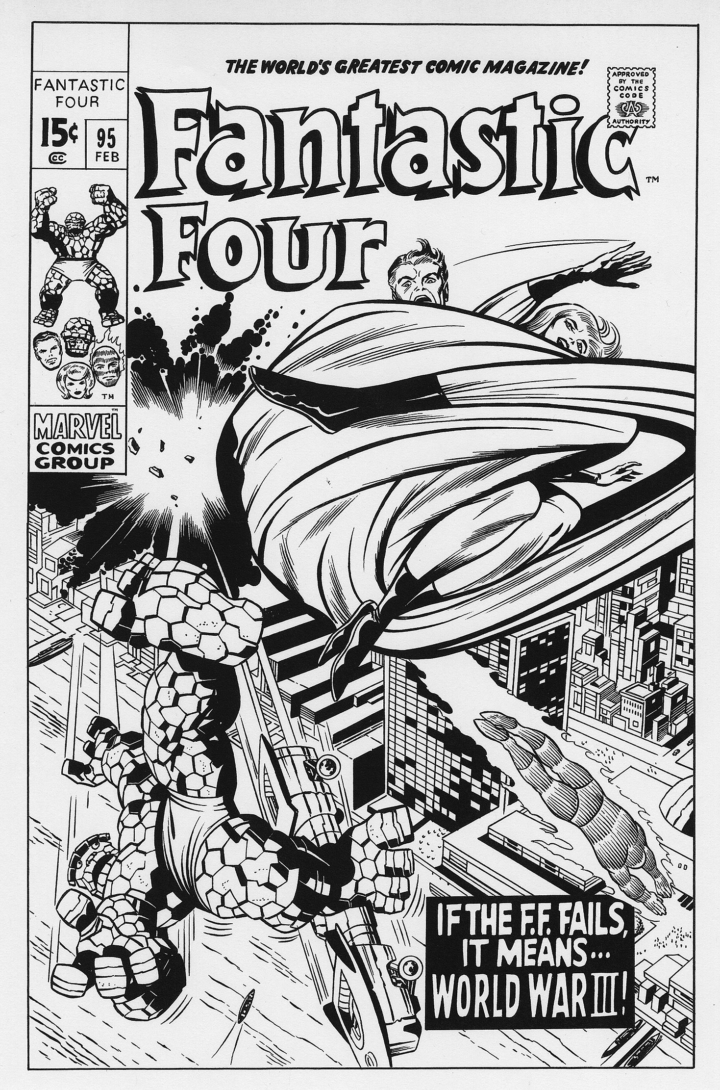 Cover art recreation Kirby Fantastic Four 95