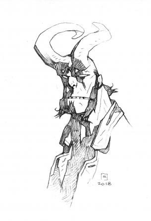 mignola hellboy pencil drawing