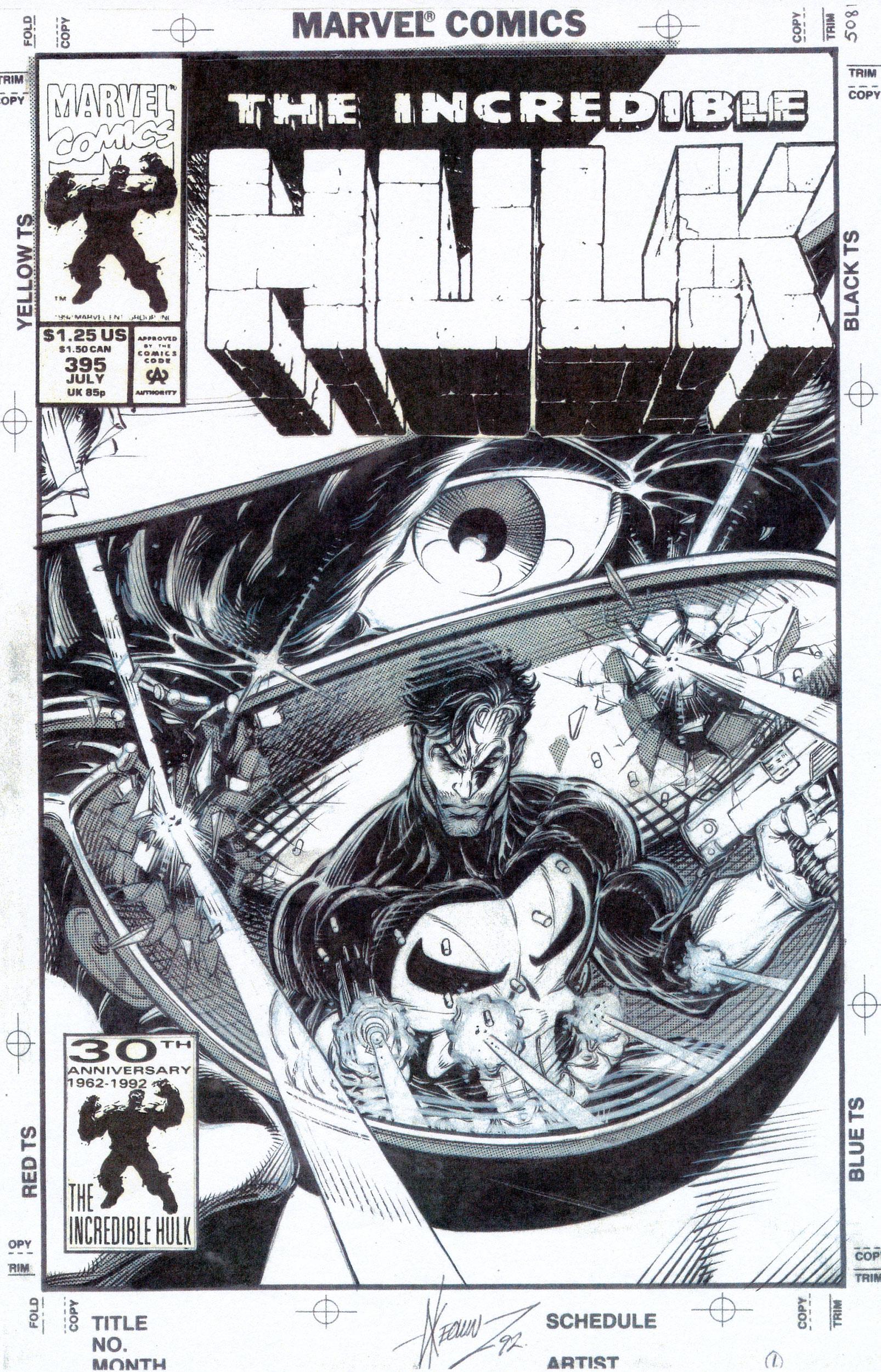 DALE KEOWN 1992 INCREDIBLE HULK #395 COVER